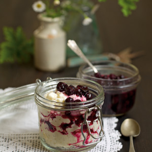 Recipe: rose-geranium-stewed blueberries with creamed rice pudding