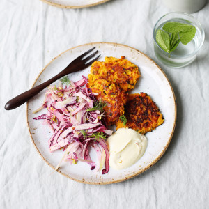 Recipe: Carrot fritters with saffron yoghurt and a fennel, cabbage and sprout slaw
