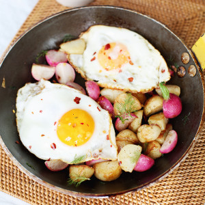 Recipe: Pan-roasted potato and radish hash with crispy fried egg