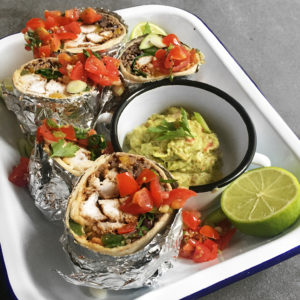 Recipe: Charred chicken, quinoa and black bean burritos