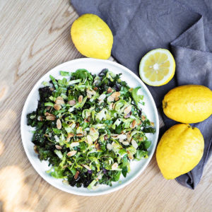 Recipe: Vanessa Fletcher's shredded sprout, kale, almond and lemon salad