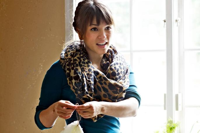 Rachel Khoo wears large scarf