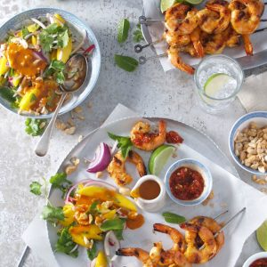 RECIPE: Spicy Sambal Prawn Skewers With Mango Salad