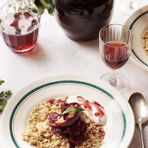 Recipe: A rosewater plum crumble