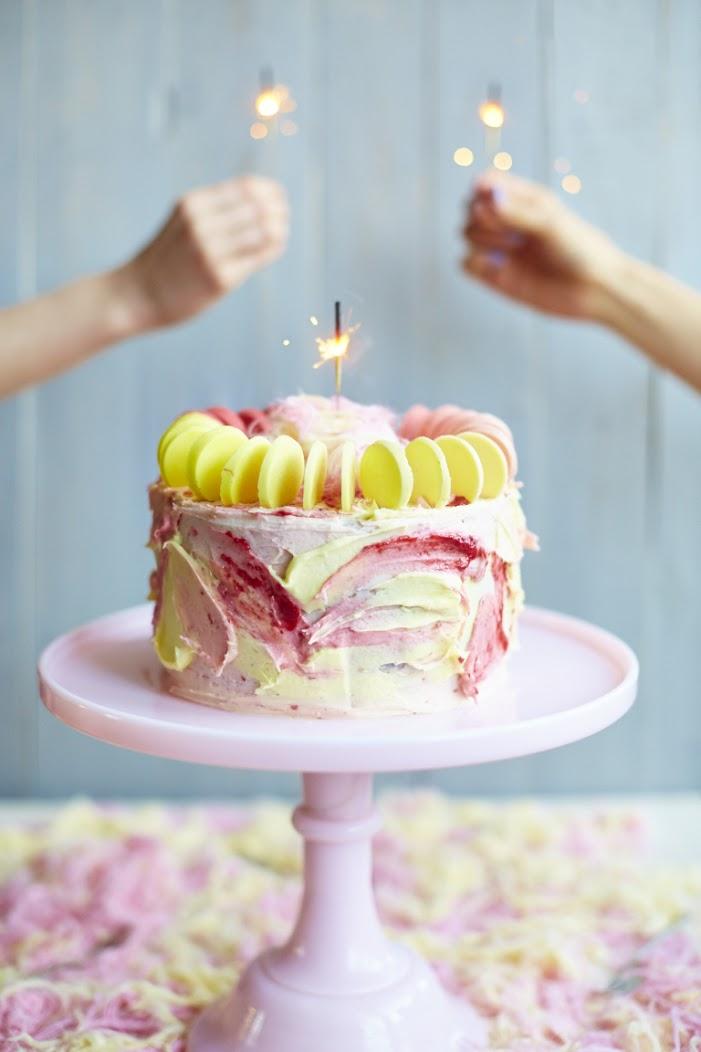 Meringue Girls Lemon and raspberry fairy floss cake