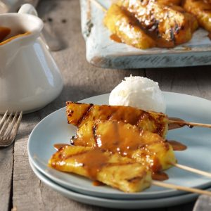 RECIPE: caramel rum pineapple skewers