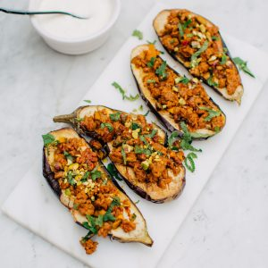 Recipe: spiced lamb in baked aubergine boats